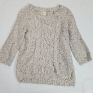 juniors pink rose high low sweater beige small